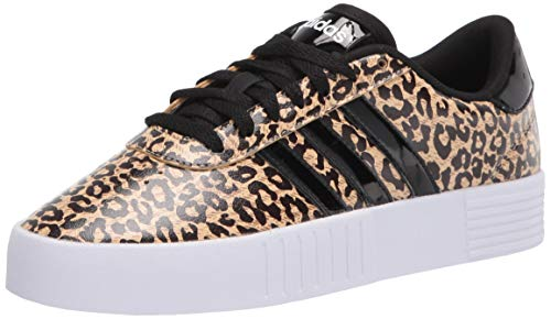 adidas womens Court Bold Sneaker, Hazy Beige/Black/Cardboard, 6.5 US