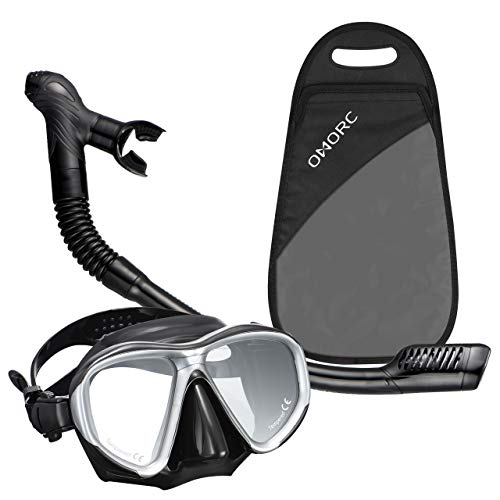 OMORC Snorkel Set, Anti-Fog Snorkel Mask Impact Resistant Panoramic Tempered Glass, Free Breathing Anti-Leak Dry Top Snorkel, Professional Snorkeling Set Adult Youth