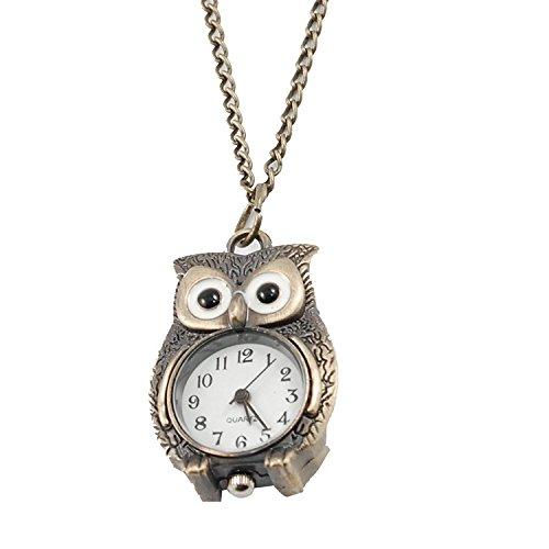 TOOGOO(R)) Bronzeton Nacht-Eule Anhaenger Quarz Halskette Uhr Fuer Damen