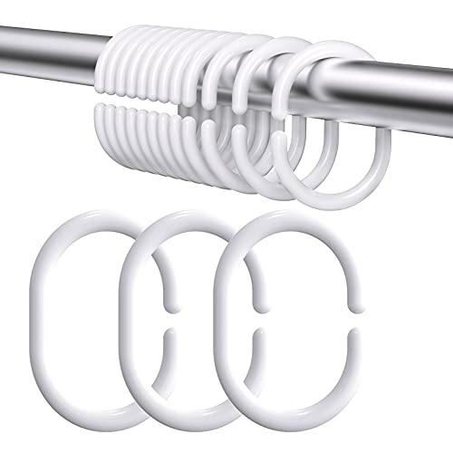 Duschvorhangringe 24 Stück,Duschringe für Duschvorhangstangen,Aus Stabilem Kunststoff Duschvorhang Ringe,Duschvorhang Haken Weiß Ringe in C-Form für Duschfensterstange