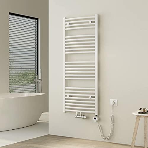 Heilmetz Badheizkörper Elektrisch 120 x 50 cm Handtuchwärmer mit Digitalem Thermostat mit Timer-Funktion oder Warmwasser Gebogen Handtuchtrockner Mittelanschluss Weiß 500 Watt