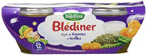 Blédina Blédîner 12 briques Mijoté de Légumes Lentilles dès 12 mois (Pack de 6x2)