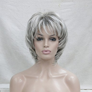 Perruque synthétique pour femme - Courte ondulée grise - Cheveux méchés/balayage - Coupe Pixie avec frange - Perruque naturelle pour costume