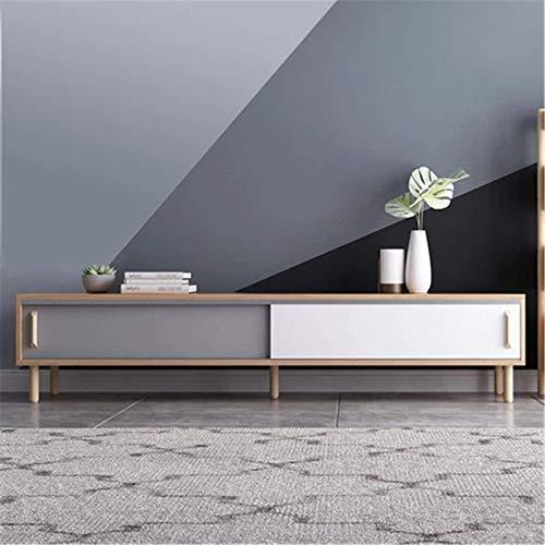 Equipo para el hogar Mueble de TV Mueble de TV Mueble de sala de estar Soporte para TV Mueble de TV de madera Mueble de mesa para TV Soporte para monitor Adecuado para sala de estar (Color: Blanco