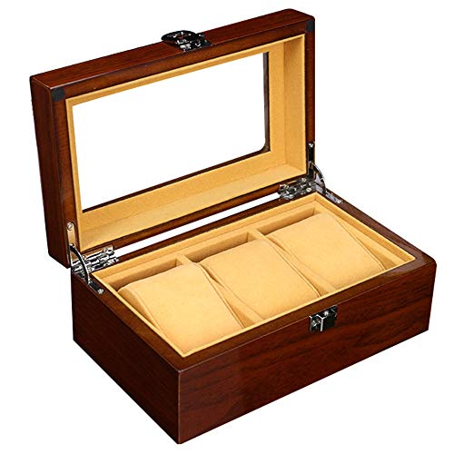 LMEI-WatchBox Watch Box / 3 Table Watch Display Box, Glass Cover, Beautiful Lock/Birthday, Valentine's Day, The Best Choice for Gifts