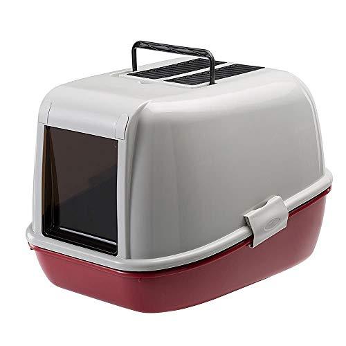 Ferplast geschlossene Katzentoilette mit Sieb-System MAGIX, stabiler Kunststoff, tiefer Boden, abgedunkelte Schwingtür, Bordeaux