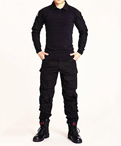 Juego de chaqueta y pantalones comando, diseño de camuflaje y estilo uniforme militar, color negro, tamaño Large