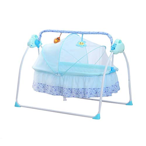 Review Balance Bouncer Cradle Electric Baby Cradle,Remote Control Music Folding Swing Bed with Mosqu...
