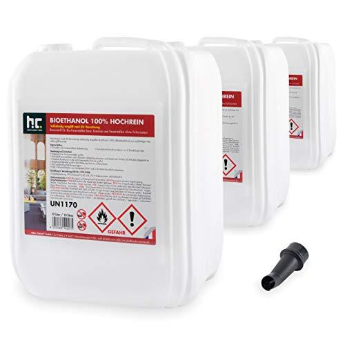 Höfer Chemie 30 L Bioethanol 99,9% Hochrein (3 x 10 L) für Ethanol Kamin, Ethanol Feuerstelle, Tischfeuer und Bioethanol Kamin