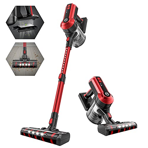 Cordless Vacuum, 23Kpa Powerful Suction, 4 in 1 Lightweight Stick Vacuum Cleaner with 300W Brushless Motor, Best for Hard Floor Carpet Pet Hair