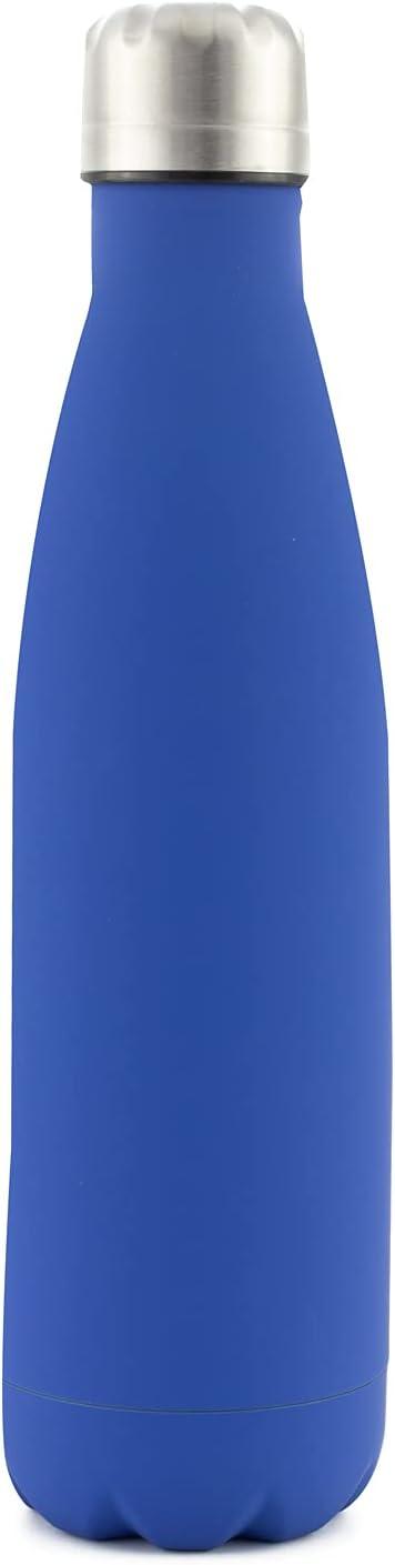 PAIDE P Botella de Agua en Acero Inoxidable.Sin BPA . Doble pared Térmica Aislante, Bebidas Frías y Calientes , té, café. Ideal para Deporte, Oficina. Antigoteo. 500ML (Liso - Azul)