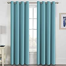 H.VERSAILTEX Blackout Curtains for Bedroom Living Room Thermal Insulated Innovated High Density Microfiber Window Panels Drapes, Grommet Top, 52 by 96 - Inch -Set of 2 - Aqua