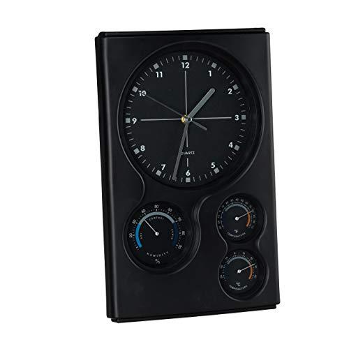 Relaxdays Reloj con estación meteorológica, Analógico, para Pared, Termómetro, Higrómetro, ºC/ºF, Plástico, 1 Ud, Negro