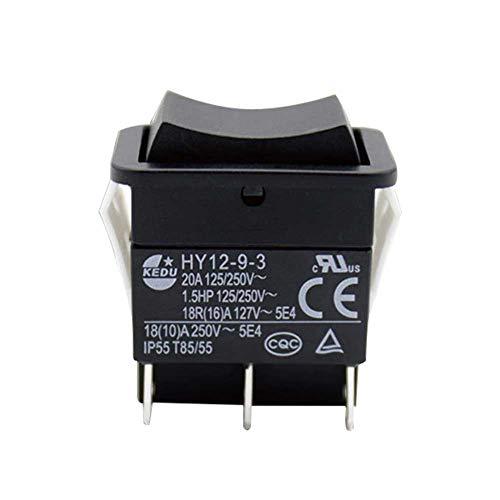 OSISTER7 Interruptor basculante eléctrico industrial HY12-9-3 de 6 pines, 125 V/250 V,...