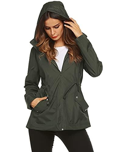 Travel Raincoat,Women Light Waterproof Warm Mesh Lined Rain Jacket(Army Green,L)