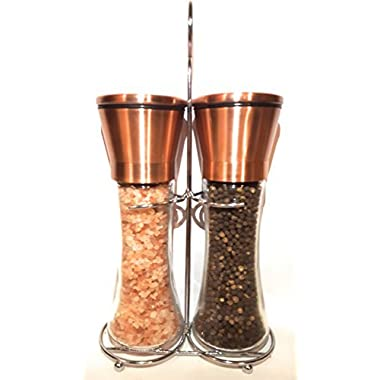 Dragonfly Premium Tall Copper Stainless Steel Salt and Pepper Grinder Set with Adjustable Coarseness and Convenient Holder-Salt Grinder and Pepper Mill