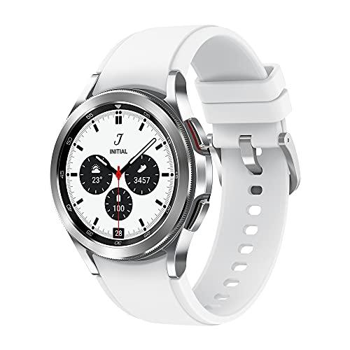 Samsung Galaxy Watch4 Classic, Runde Bluetooth Smartwatch, Wear OS, drehbare Lünette, Fitnessuhr, Fitness-Tracker, 46 mm, Silver (Deutche Version)