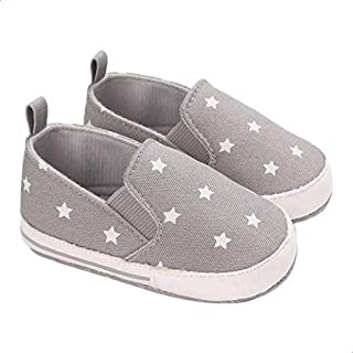 Mix and Max Pull-Tab Elastic-Insert Star-Pattern Low-Top Slip-on Shoes for Boys - Grey, 12-18 Months