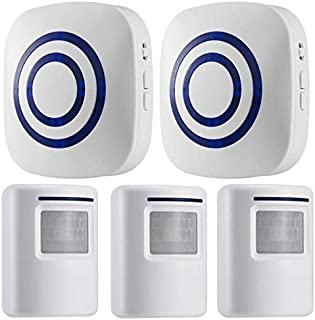 Motion Sensor Alarm, Wireless Security Driveway Alarm, Home Motion Sensor Detect Alert with 3 Sensor and 2 Receiver,38 Chime Tunes - LED Indicators
