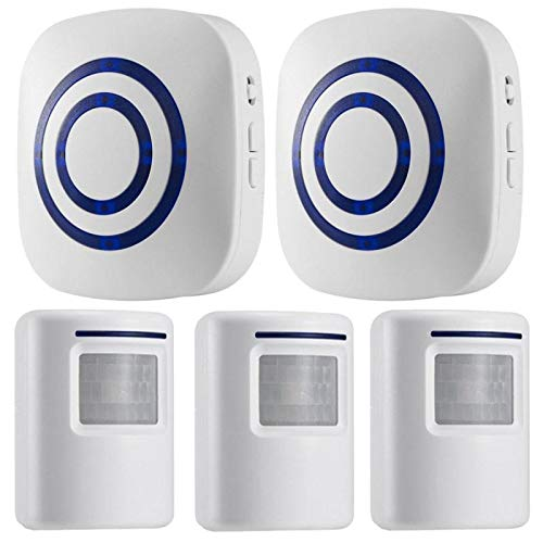 Motion Sensor Alarm, Wireless Security Driveway Alarm, Home Motion Sensor Detect Alert with 3 Sensor and 2 Receiver,38 Chime Tunes - LED Indicators