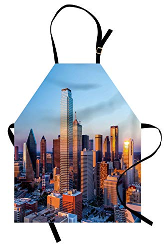 Ambesonne United States Apron, Dallas Texas City with Blue Sky at Sunset Metropolitan Finance Urban Center, Unisex Kitchen Bib Apron with Adjustable Neck for Cooking Baking Gardening, Multicolor