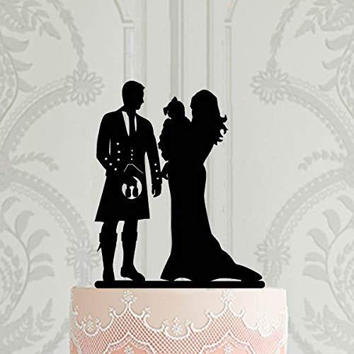 Schotse familie bruiloft taart topper taart topper voor bruiloft met baby meisje bezem met Kilt taart topper