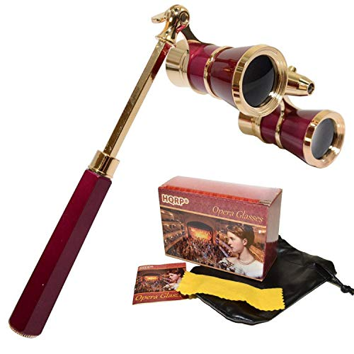 HQRP Opera Glasses/Binoculars w/Crystal Clear Optic (CCO) 3 x 25 in Burgundy Color with Golden Trim, Built-in Extendable Handle and Red Reading Light