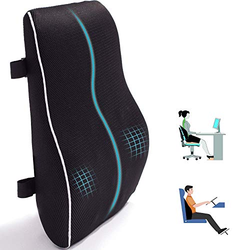 Lumbar Support Pillow for Office Chair Car Memory Foam Back Cushion for Back Pain Relief Improve...