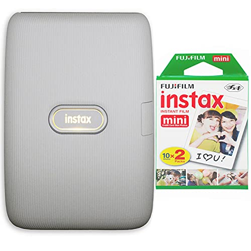 Fujifilm Instax Mini Link Smartphone Printer (Ash White) + Fujifilm Instax Mini Instant Film (20 Sheets) Bundle with Sturdy Tiger Stickers + Deals Number One Cleaning Cloth