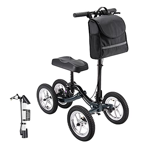 AW Outdoor Indoor Medical Steerable Knee Walker Medical Scooter for Foot Injuries Compact Crutches Alternative