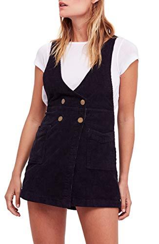 Free People Womens Canyonlands Corduroy Mini Jumper Dress Black 8