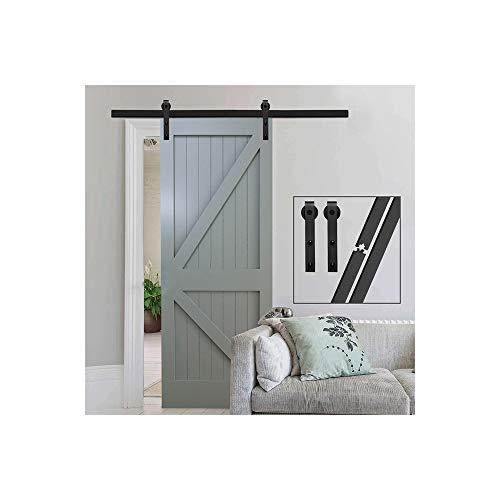 GIFSIN 4FT/122cm Herraje para Puerta Corredera Kit de Accesorios para Puertas Correderas,Negro J-Forma