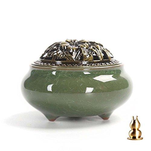 Guwheat Porzellan Räucherstäbchenhalter Brenner (Stick/Cone/Coil Räucherstäbchen) Keramik Aschenfänger Schale mit Messing Calabash Räucherstäbchenhalter (Smaragd)