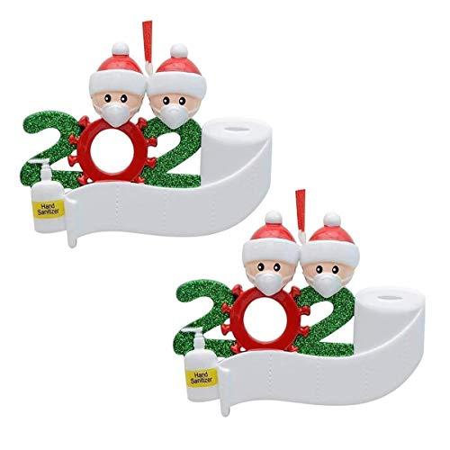 2 Pack Christmas Tree Ornaments - Santa Christmas Tree Pendant Decorations - Xmas Tree Faceless Santa Claus with Mask Hanging Decor Bandana Keepsake - Holiday Blessing Gift for Family (Family of 2)