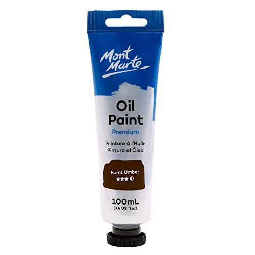 Mont Marte Premium Oil Paint, 100ml (3.4oz), Burnt Umber, Good Coverage, Excellent Tinting Strength