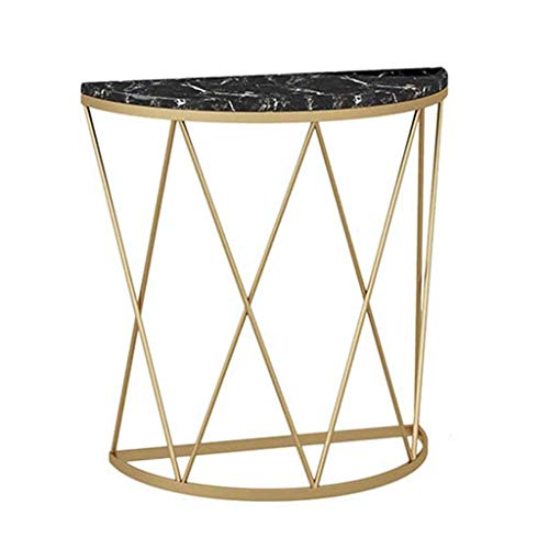 N/Z Living Equipment Side Table Creative Semicircle End Table Against the Wall Corridor Aisle Coffee Table Shelf Iron Art Black Marble 80 times;30 times;80cm