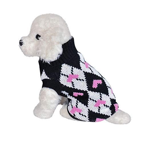 Hundebekleidung,TWBB Winter Hund Katze Rollkragen Sweater Hundepullover Mantel Warm weiche Strickpullover Jack Coat Indoor Kostüm für kleinen Mittel großen Hund Katze XS-XXL