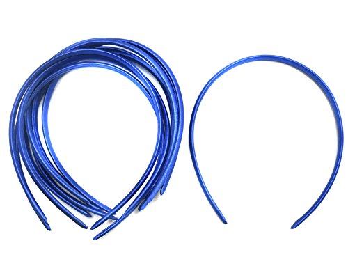 10 x Plain Headbands School Girls Small Hair Accessories Uniform Alice Band (Blue)