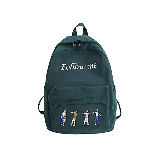 DHTOMC Backpack men and women, travel student sports backpack light and comfortable large capacity zipper wild casual simple red green backpack Xping (Color : Green)