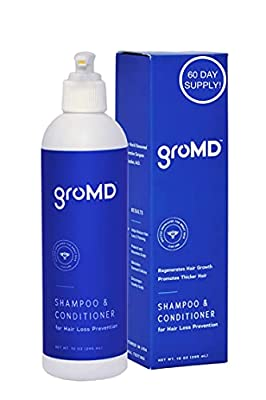 GroMD Doctor-Developed Shampoo & Conditioner for Hair Loss Prevention – Hair Loss Shampoo for Women & Men, Patented DHT Blocking Treatment for Thinning Hair, Hair Growth with Biotin & Argan Oil 10 oz