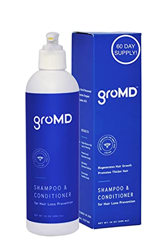 GroMD Hair Loss Shampoo - Doctor-Developed Shampoo & Conditioner   Hair Growth Shampoo For Men & Women   Patented DHT Blocking Treatment for Hair Loss Prevention   Contains Biotin & Argan Oil, 10 oz