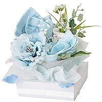 ユメギフト 泉州タオルフラワー エレガント L タオル ギフト ハンドメイド 日本製 選べる4色(ブルー)