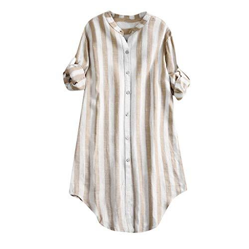 Xmiral Tops Shirts Damen Button V-Ausschnitt Plus Size Polyester Sommer T-Shirt Elegante Pullover Bluse Für Partyabend Hochzeit(C Khaki,3XL)