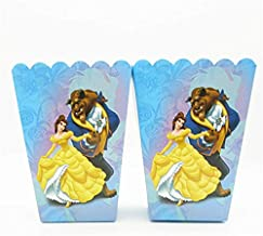 Disney Favor Boxes With Best Design, 6pcs Cartoon Beauty And Beast Party Favors Popcorn Box In Kids Birthday - Teen Titans Party Supplies, Birthday Candy Bags, Princess Favor Bags