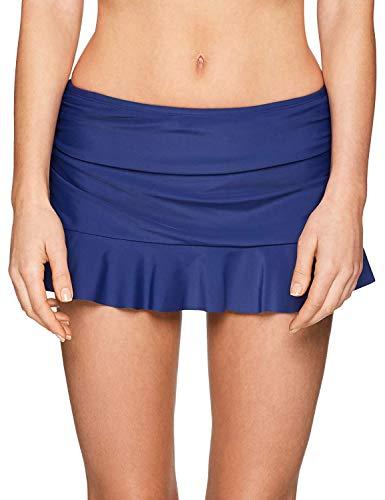 24th & Ocean Women's Ruffle Skirted Hipster Bikini Swimsuit Bottom, Navy, Large