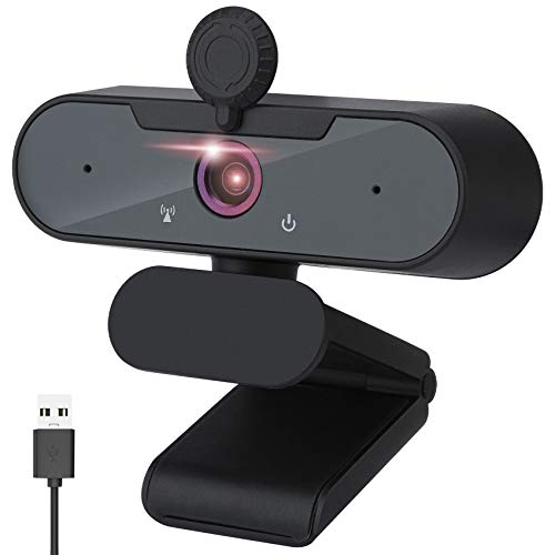 Webcam con micrófono, Full HD 1080P, reproductor Windows, accesorios para PC, Mac, juegos de ordenador, webcam de PC para vídeo, reuniones, juegos, ampliamente compatible con Windows/Linux/Mac/Android