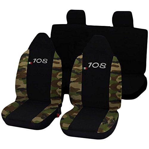 Lupex Shop N.MCL stoelhoezen voor Peugeot 108 tweekleurig zwart camouflage