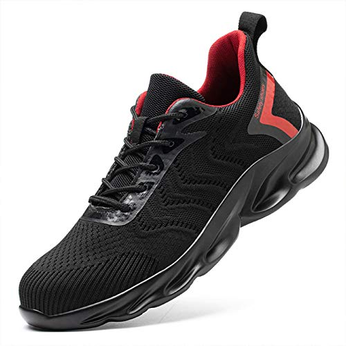 Phefee Zapatos de seguridad para los hombres con puntera de acero, ligeros, transpirables, industriales, rojos.
