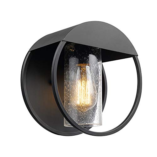 Globe Electric Neruda 1-Light Outdoor Indoor Wall Sconce, Matte Black, Seeded Glass Shade 44335