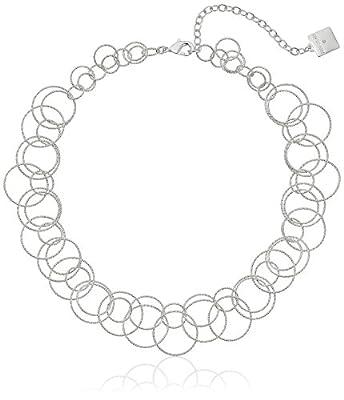Anne Klein Circle Around Silver-Tone Open Link Necklace, 16 + 3 Extender